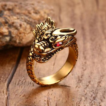 Men Dragon Rings Stainless Steel Gold color Red CZ Eye Punk Rock Mystic Flying Chinese Man Fashion Jewelry anel