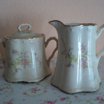 Cottage Chic Crooksville China Company Cream and Sugar Set Antique Pair Dining Set Crazing Cracks and Charming Aged Character