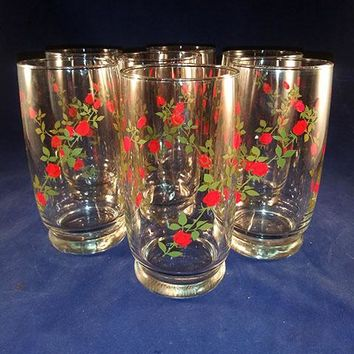 Anchor Hocking Retro Drinking Glasses - Red Roses  S/6