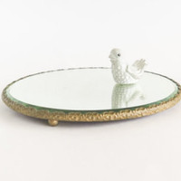 Antique Round Mirrored Vanity Perfume Cocktail Tray