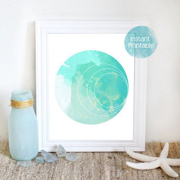Abstract Watercolor Circle Printable Modern Art Print Green & Aqua Watercolor Abstract Painting Printable Minimal Art Coastal Decor Wall Art