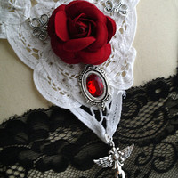 SALE  Victorian Goth Statement Necklace Red Rose Crystal Cross White Lace Choker,steampunk gothic goth fashion Jewelry  accessories