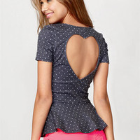 Dot Heart Back Peplum Short Sleeve