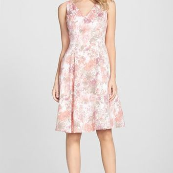 Women's Adrianna Papell Jacquard V-Neck Fit & Flare Dress