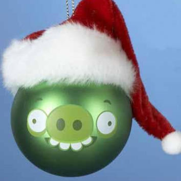 Christmas Ornament - Angry Birds Pig With Plush Hat