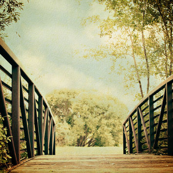 Cottage Chic Photography - Nature photograph - Textured Art - Sage Green - Brown Bridge - Modern photo - wall Print - home decor