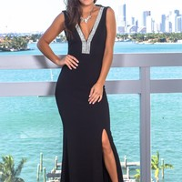 Black Maxi Dress with Open Back and Jewel Detail