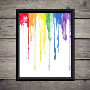 Rainbow Drips - Design - Print - Instant Download - Digital Printable - Wall - Desk - Dorm Art - Raining - Poster - Color - Watercolor