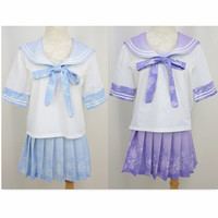 {Set}Bubble Lemonade Short-sleeve Seifuku Uniform Blouse Top + Pleated Skirt Free Ship Free SP140977 from SpreePicky