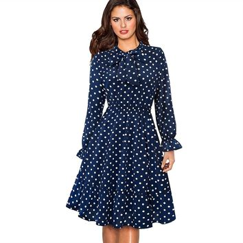Spring Autumn Women Dark Blue Long Sleeve Swing Skater Dress Vintage Polka Dot Office Party Dress EA130