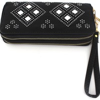 Women's Black Leather Wallet with Rhinestones Wallet Fashion Bling Black Wallet