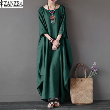 Plus Size ZANZEA Vintage Womens 3/4 Sleeve O-Neck Kaftan Solid Loose Beach Robe Vestido Casual Party Maxi Long Dress
