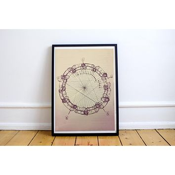 John Coltrane Circle of Fifths Mandala Distressed  Meditation Music Grunge Hippie Art Print Poster  Design no frame 20x30 Large