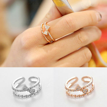 Jewelry Gift Shiny New Arrival Korean Stylish Simple Design Strong Character Fashion Butterfly Accessory Ring [8380559175]