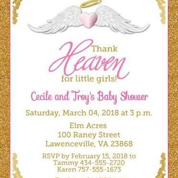 Thank Heaven for Little Girls Baby Shower Invitations