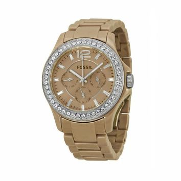 FOSSIL Riley GMT Antique Pearl Ceramic Ladies Watch, FOSSIL Riley GMT Antique Pearl Ceramic Ladies Watch