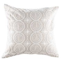 "15.7"" x 15.7"" Ivory Lace Embroidered Pillow Cover 