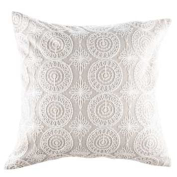 """15.7"""" x 15.7"""" Ivory Lace Embroidered Pillow Cover 