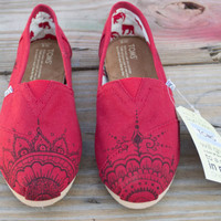 Hand Painted Toms Shoes - Red Mehndi Henna Design Painted Canvas Shoes Made to Order