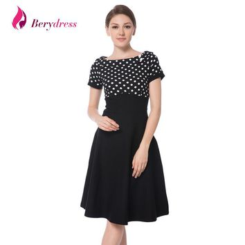 Berydress Elegant Women Cocktail Party Boat Neck Short Sleeve Midi Knee-Length Pin-up Picnic 1950s Vintage Casual Swing Dresses