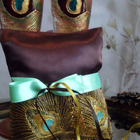 Hand painted Brown Satin ring bearer pillow peacock feathers in gold and metal green personalized wedding favor
