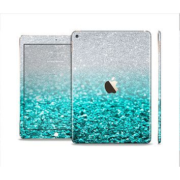 The Aqua Blue & Silver Glimmer Fade Skin Set for the Apple iPad Air 2