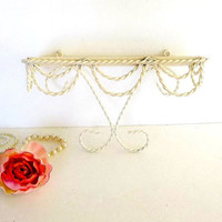 Vintage Accent Shelf, Ivory twisted iron metal, glass shelf, draped rope design, small shelving, wall hanging Mid Century Cottage Chic