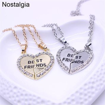 Nostalgia Bestfriend Necklace Best Friend Heart Broken Pendant Friends His And Hers Gift For Friendship