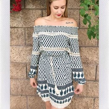 SEATON OFF SHOULDER DRESS- GREEN PAISLEY PRINT from shopoceansoul
