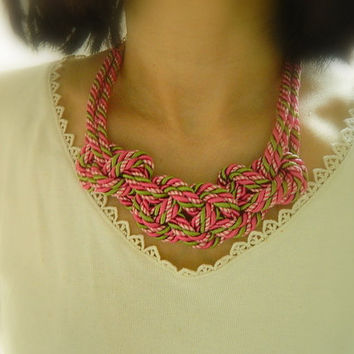 Hot pink, mint green, white Sailor Knot /Japanese Knot Necklace/choker, Multi colorRope Necklace, Nautical Necklace, for her, bib necklace