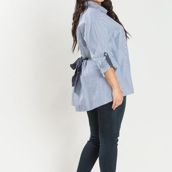 Plus Adrienne Blue Stripe Button Up