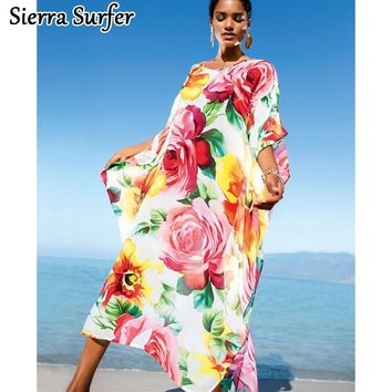 Swimsuit Cover Up Kaftan Beach Swimwear Women Saida De Praia 2018 Chiffon Dress Loose Size Plavky Pareo Coverups Mayo Maios