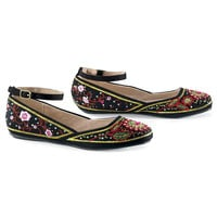 Embroidered Ankle Strap Flats - Women's Clothing & Symbolic Jewelry – Sexy, Fantasy, Romantic Fashions