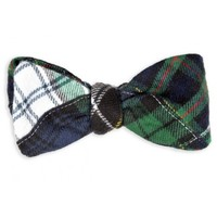 Black Watch Fraser Tartan Patchwork Bow Tie in Green and White by High Cotton