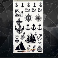 Pirate Temporary Tattoo Anchor Black Compass Totem Waterproof Tattoo Stickers CHild  17*10CM Men WOmen Body Arm Fake Flash Tatoo