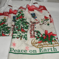 Christmas/Winter Themed Kitchen Hand Towels/Crocheted Tops 100 Percent Cotton/Soft n Luxurious Snowman Happy Holidays/Peace On Earth Towels