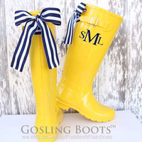 Custom Monogrammed Yellow Gloss Rain Boot with Bow