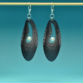 Vintage Black Aluminum Snake Skin Hoop Earrings