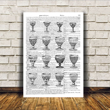 Wine glass poster Antique art Modern decor Royal print RTA51