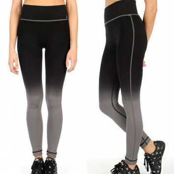 High Waist Ombre Active/Yoga Pants Black One Size Fits S-L