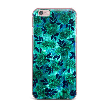 "Ebi Emporium ""Grunge Flowers III"" Teal Floral iPhone Case"