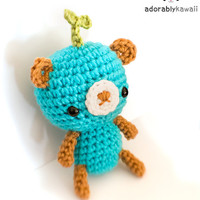 cute leafy blue and brown bear amigurumi plushie toy doll - MADE TO ORDER