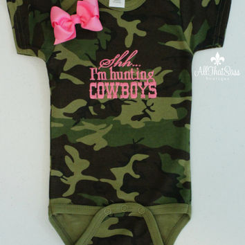 Baby Girls Embroidered Onesuit with Bow Set - Shh... I'm Hunting Cowboys -Baby Shower Gift - Camo - Camouflage - Pink - Cowgirl