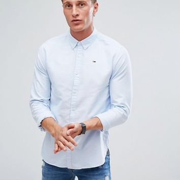 Tommy Hilfiger Denim Oxford Shirt Flag Logo in Light Blue at asos.com