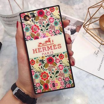 Hermes Trending Women Stylish Red Floral Pattern Blue-Ray Glass iPhone Phone Cover Case For iphone 6 6s 6plus 6s-plus 7 7plus iPhone 8 8 Plus iPhone X I13560-1
