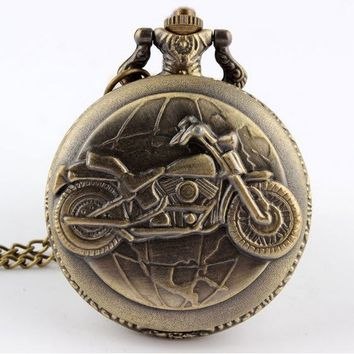 Bronze Motorcycle Pocket Watch