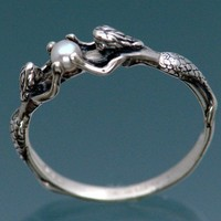 Two Mermaids Ring with Pearl by SheppardHillDesigns on Etsy