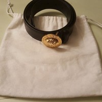 Versace medusa greca buckle leather belt 100
