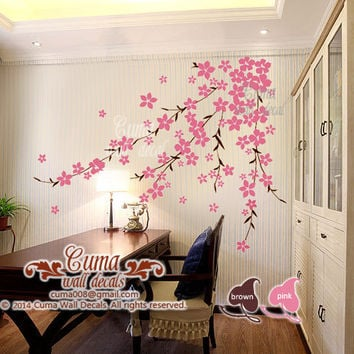 Flower wall decals cherry blossom vinyl from cuma on etsy flower wall decals cherry blossom vinyl wall decals girl nursery wall decals sticker children wall decal mightylinksfo