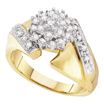 10kt Yellow Gold Women's Round Diamond Flower Cluster Ring 1/2 Cttw - FREE Shipping (US/CAN)